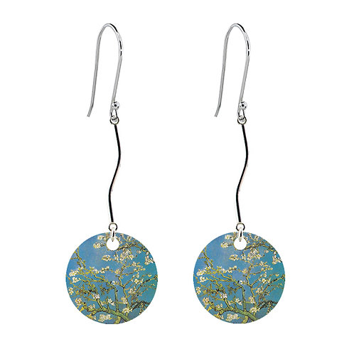 Van Gogh Earrings - Almond Blossom - Long Round