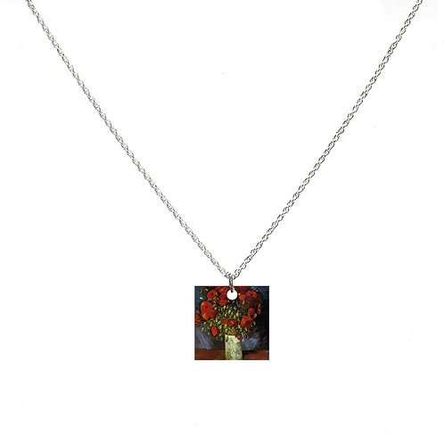 Van Gogh Necklace - Vase with Poppies - Square