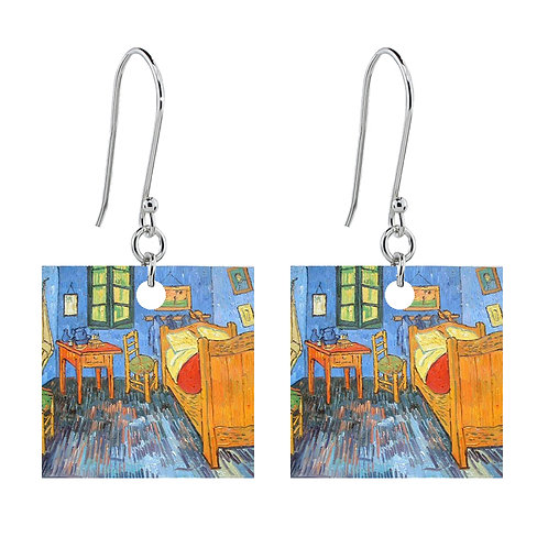 Van Gogh Earrings - Bedroom at Arles - Short Square