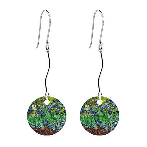Van Gogh Earrings - Irises - Long Round