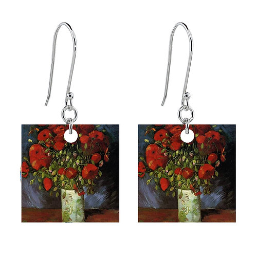 Van Gogh Earrings - Vase with Poppies - Short Square