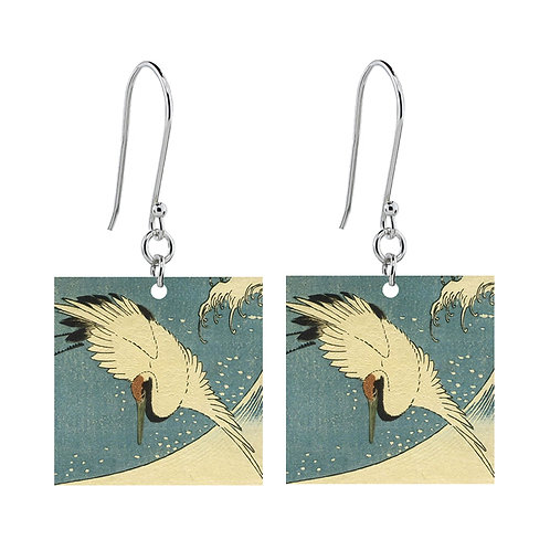 Crane by Utagawa Hiroshige II Earrings - Short Square