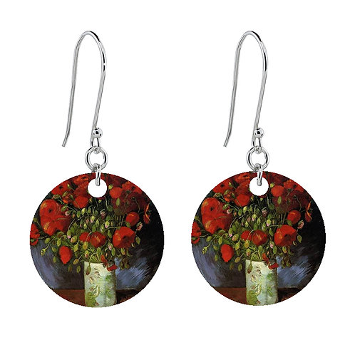 Van Gogh Earrings - Vase with Poppies - Short Round
