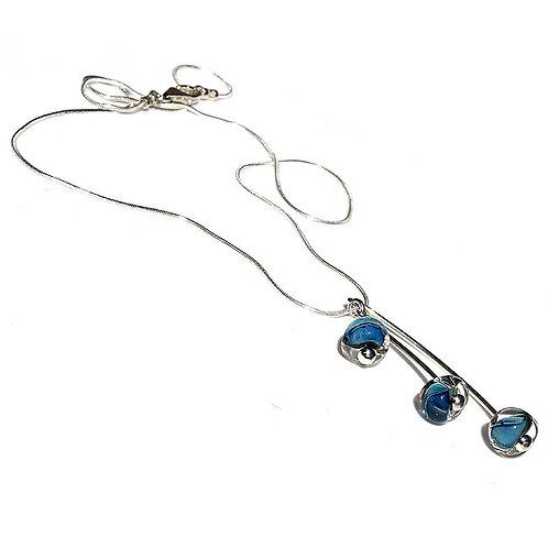 Blue Triple Drop Glass Necklace