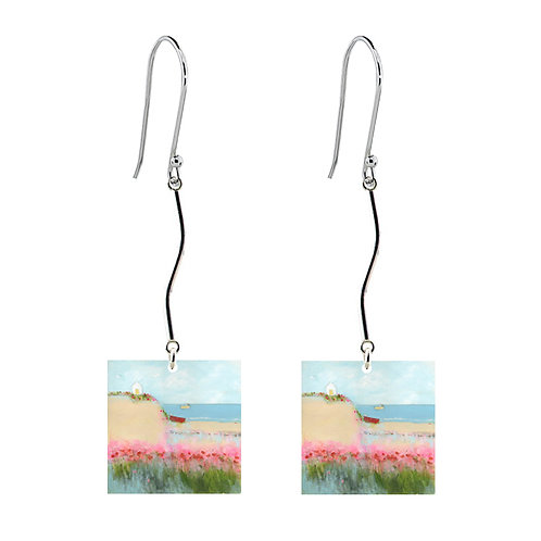 Sue Fenlon 'Poppies and Seagulls' Earrings - Long Square