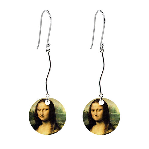 Leonardo da Vinci - Mona Lisa Earrings - Long Round