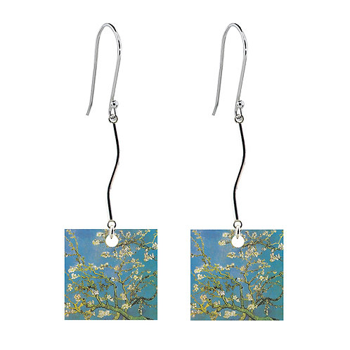Van Gogh Earrings - Almond Blossom - Long Square