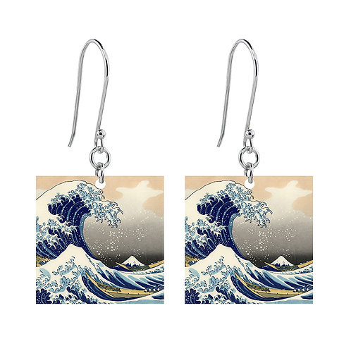 The Great Wave of Kanagawa Earrings - Short Square