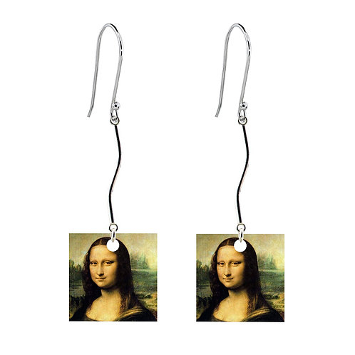Leonardo da Vinci - Mona Lisa Earrings - Long Square