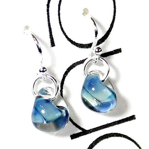 'Paris and Helen' Short Drop Sea Blue Glass