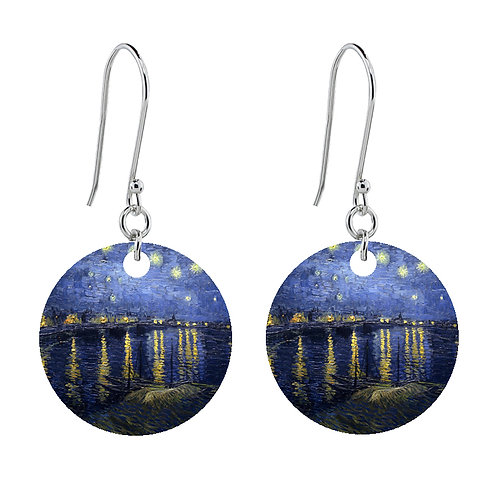 Van Gogh Earrings - Starry Night Over the Rhone  - Short Round