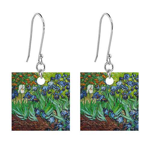 Van Gogh Earrings - Irises - Short Square