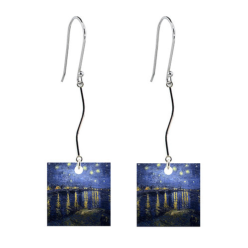 Van Gogh Earrings - Starry Night Over the Rhone - Long Square