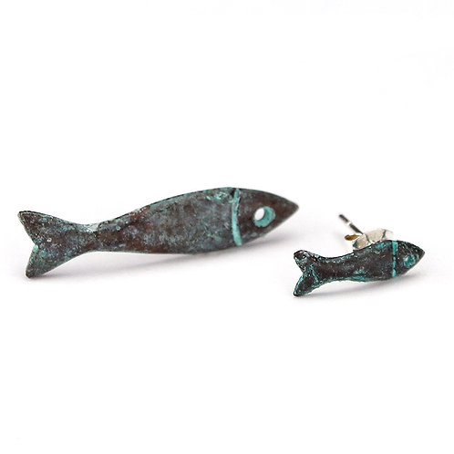 Little and Large Fish Stud Earrings - Copper Finish