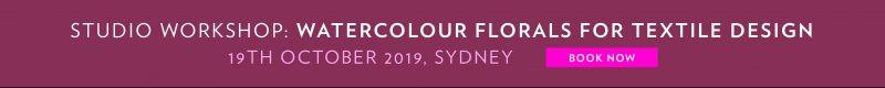 Studio Workshop: Watercolour Florals for Textile Design. 19th October 2019