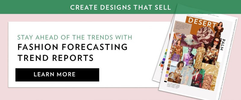 Promo for trend reports showing Desert Palm storyboard and on white ground with pink and green background. Text reads: Create designs that sell; Stay ahead of the trends with fashion forecasting trend reports; learn more.