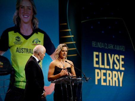 Ellyse wins her third Belinda Clark award at Australian Cricket Awards