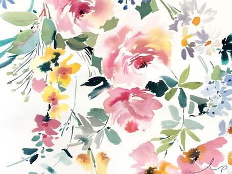 2 Min Tute: Watercolour Florals For Textile Design
