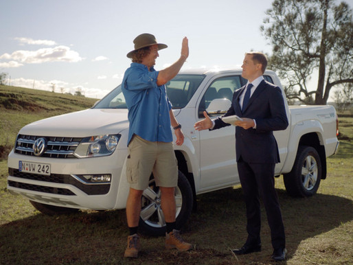 It's all in the delivery! Nick Cummins gives some tips to Volkswagen Amarok's new sales guy in VW's