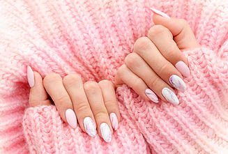 Female hands manicure close up view on p
