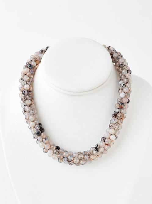 Gray Jasper Bead Crochet Necklace