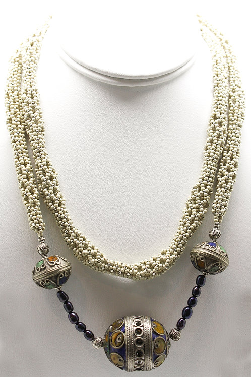 White, Pearl and Vintage Afghan Bead Necklace