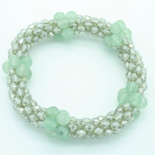Aqua Amazonite and Crystal Bracelet