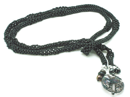 Black Rope with Pearls and Handblown Glass Drop