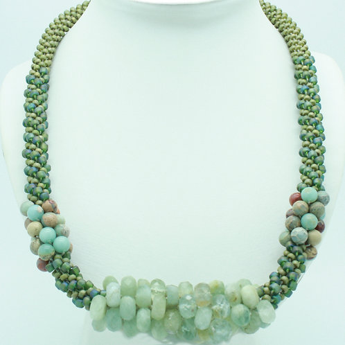Aquamarine and African Opal Bead Crochet Necklace