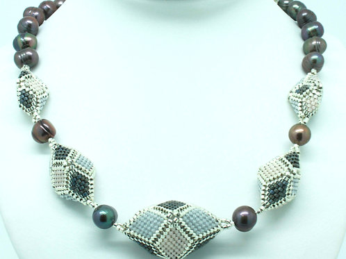 Grey Hedron Necklace with Freshwater Pearls