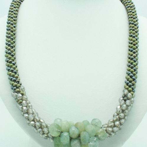 Aquamarine and Crystal Bead Crochet Necklace