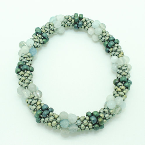 Aquamarine Multi Crochet Bangle