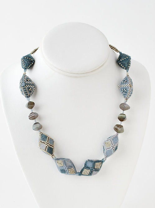 Patterned Grey Hedron with Labradorite Necklace