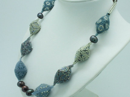 Metallic Hedron and Pearl Necklace