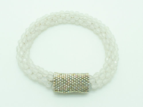 White Crystal Crochet Bangle