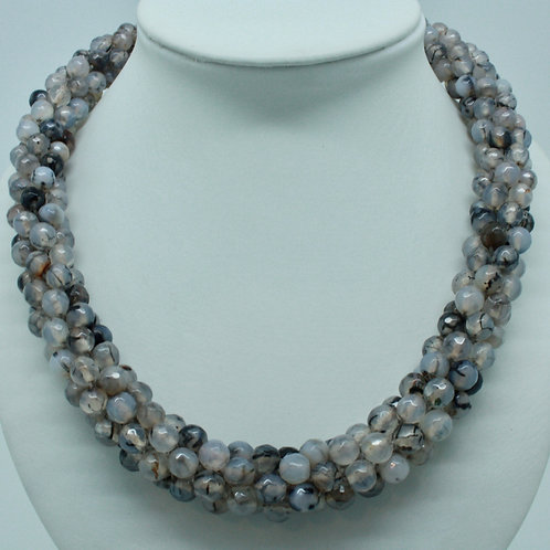 Gray Jasper Bead Crochet Necklace