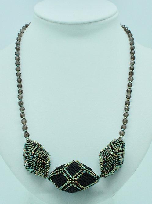 Black Hedron and Smoky Quartz Necklace