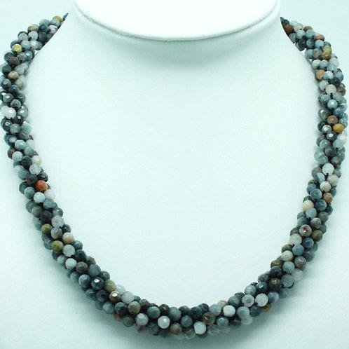 Labradorite and Amazonite Crochet Necklace