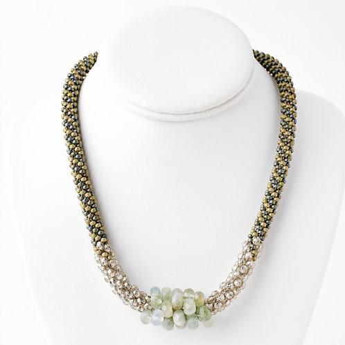 Aquamarine and Crystal Bead Crochet Necklace