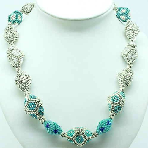 Turquoise, White and Sterling Hedron Necklace