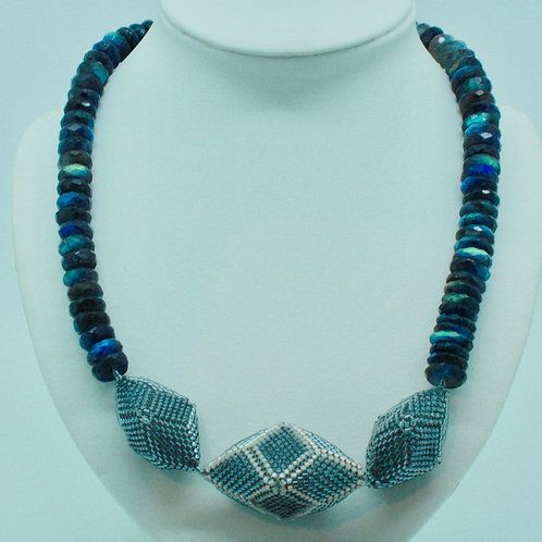 Gray Hedron and Labradorite Necklace