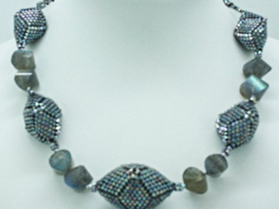 Shimmer Grey Hedron and Labradorite Necklace