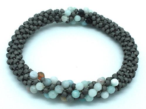 Amazonite and Gray Swirl Bracelet