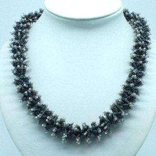 Dark Grey Ponzu Necklace with Crystal Tips