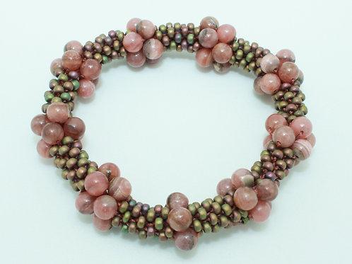 Pink Rhodochrosite Crochet Bangle
