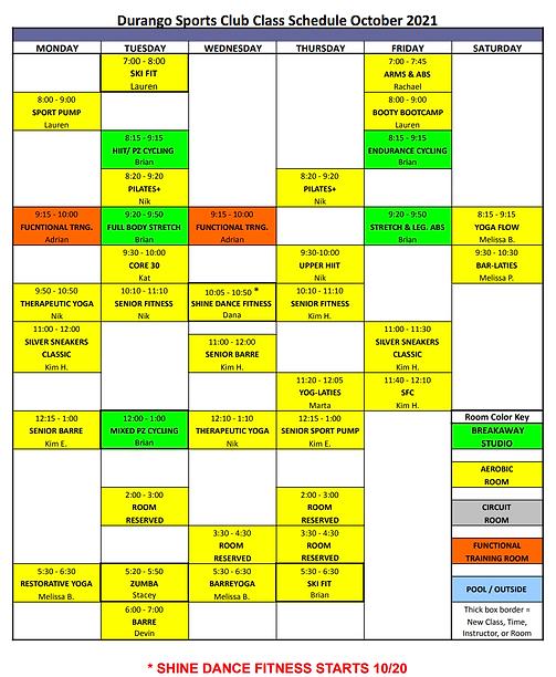 Oct Class Schedule