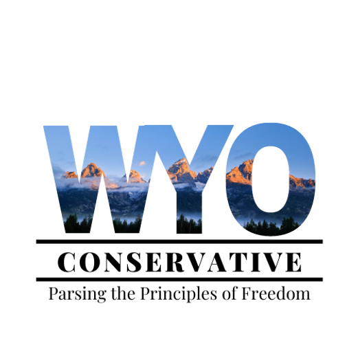 """WYO CONSERVATIVE Logo with tagline """"Parsing the Principles of Freedom"""""""