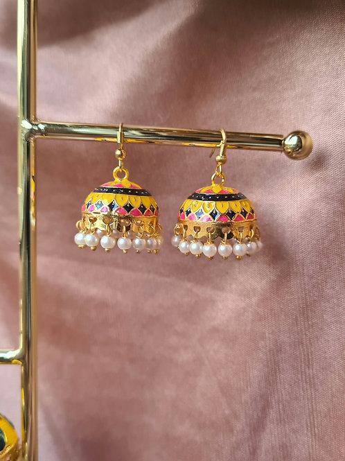Yellow, Pink and Blue Jhumkas