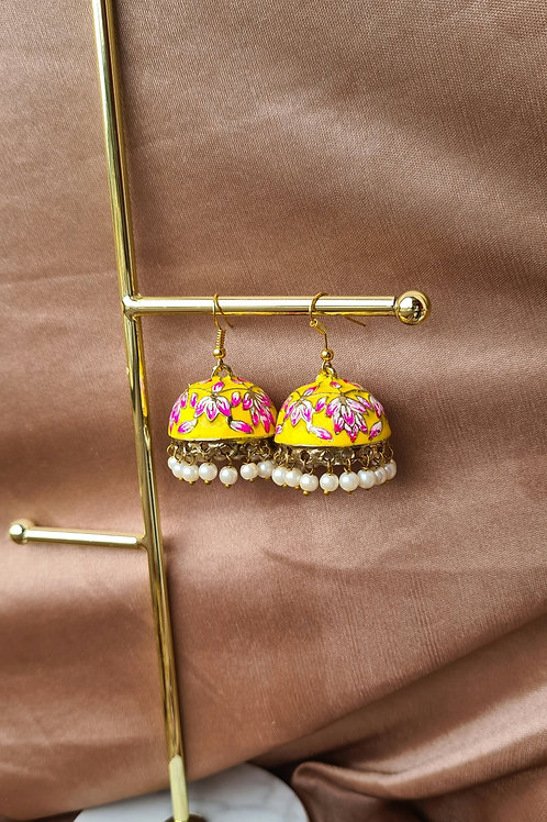 Yellow Pink Lotus Jhumkas