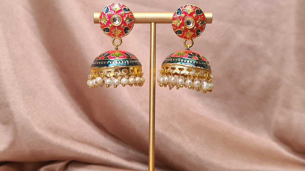 Red Floral Jhumkas